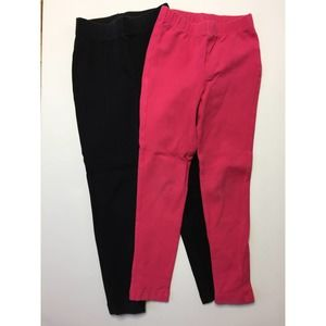 Lands End Black Pink Leggings Bundle of Two M 5-6